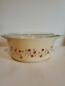 Pyrex Trailing Flowers 2.5 L Vintage Casserole With Lid 475-B Floral Baking Dish