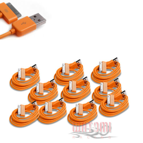 10X 3FT USB SYNC DATA POWER CHARGER ORANGE CABLE IPHONE IPOD TOUCH NANO NEW IPAD
