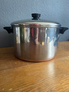 Revere-Ware-6-Qt-Stock-Pot-Dutch-Oven-Copper-Clad-Stainless-Clinton-ILL-USA