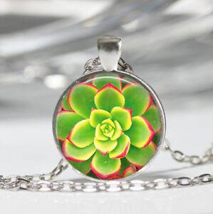 Flower Tibet silver Dome Glass Cabochon Necklace chain Pendant #136