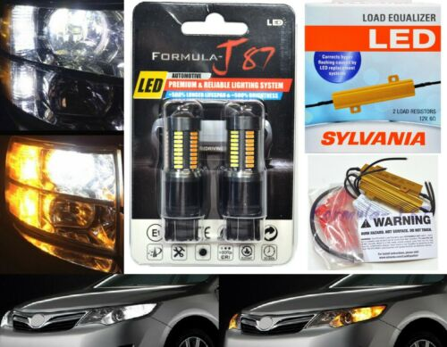LED Switchback Light 4014 White Amber 7444 Two Bulbs Resistor Front Turn Signal
