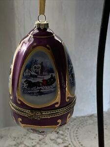 Vintage Mr. Christmas Egg Shaped Porcelain Musical Ornament - FREE SHIPPING