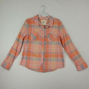 Arizona-Jean-Company-Womens-Long-Sleeve-Button-Front-Top-Large-Peach-Pink-Plaid