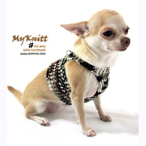 Dog Harnesses Pet Harness Cat Puppy Sweater Black White Crochet DH10 Myknitt
