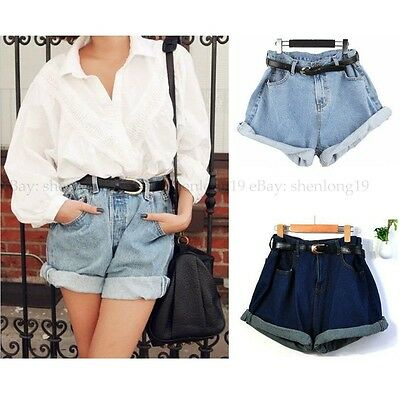 Women's Retro Vintage Style Oversize Crimping Denim High Waist Jean Shorts Pants