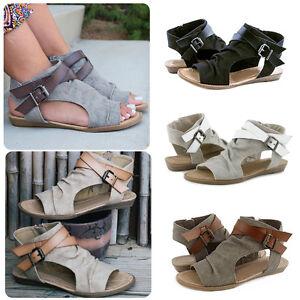 Women-Ladies-Summer-Peep-Toe-Flat-Buckle-Sandals-Side-Zipper-Ankle-Strap-Shoes