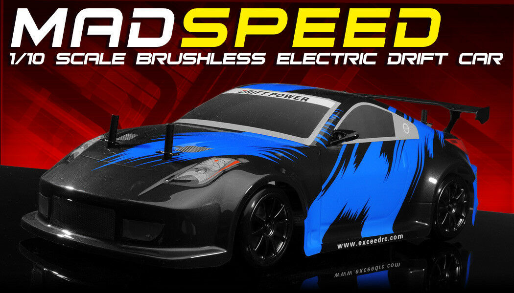 Exceed RC MadSpeed Drift King Brushless 1 10 Electric Ready to Run Fire bluee