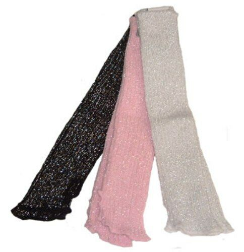 40CM ACRYLIC SPARKLY//GLITTER STIRRUP LEG WARMERS IN PINK//WHITE//BLACK BALLET//TAP