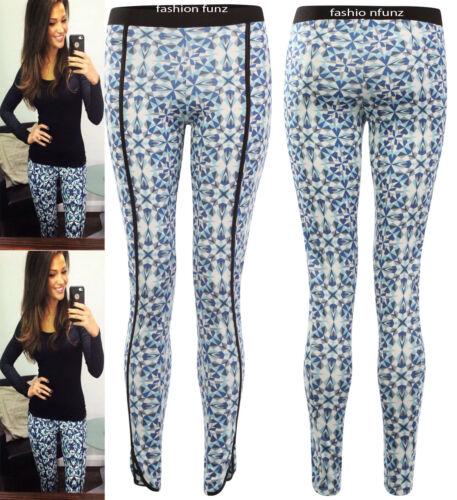 Pour femme elasticted taille celebs floral imprimé aztèque côté pvc doublé leggings