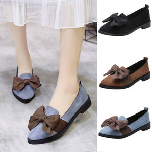 Women-Pointed-Toe-Flock-Slip-On-Shoes-Square-Heel-Jobs-Single-Shoes-Bow-Shoes