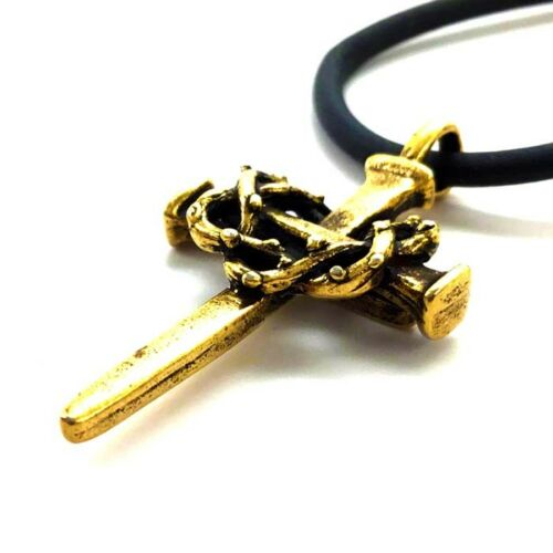 Nail Cross with Crown of Thorns Necklace Antique Gold Finish aa5g