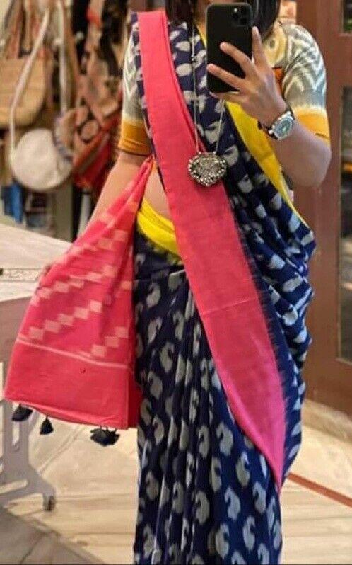 Ethnic Vintage Cotton Saree For Hand Printed Women Sari & Blouse,Free Postage