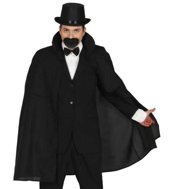 Mens Long Black Victorian Cape Cloak Edwardian Fancy Dress Costume Halloween NEW