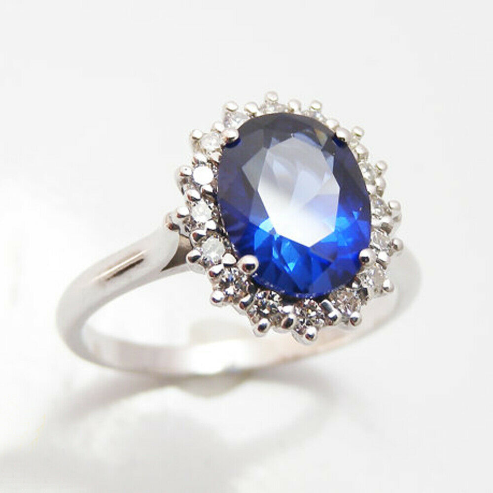 3.94 Ct Sapphire Diamond Engagement Ring 14K Solid White gold Rings Size 5 6
