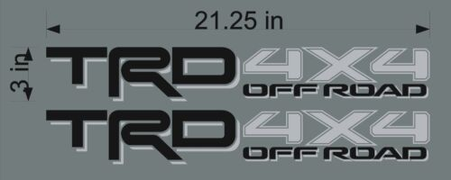 TOYOTA TRD 4x4 Off Road BLACK//SILVER PAIR Vehicle Truck Replacement Decal