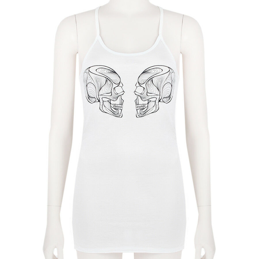 Thomas Wylde Weiß schwarz Skull Printed Form-Fitting Vest Top Tank M UK10
