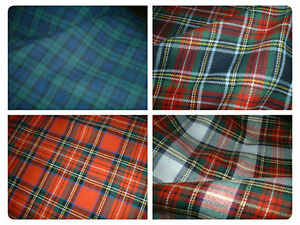 100-Brushed-Cotton-Soft-Tartan-Fabric-150cm-59-034-wide-4-Styles-inc-Stewart