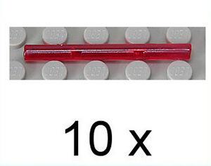 LEGO-10-x-Laserschwert-Stab-1x4-transparent-rot-Staebe-30374-NEUWARE