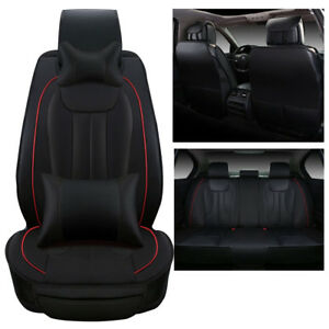 Deluxe-Edition-Car-Seat-Cover-Front-Rear-5-Seats-PU-Leather-Cushion-Pillows