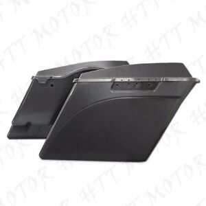 4-034-Stretched-Unpainted-Black-Saddlebags-W-Lib-For-039-94-039-13-Harley-Touring-Street