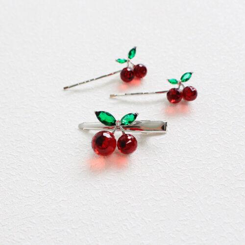 Fashion Crystal Cherry Hair Clips Hairpins Barrettes Women Girl Hair Accessories