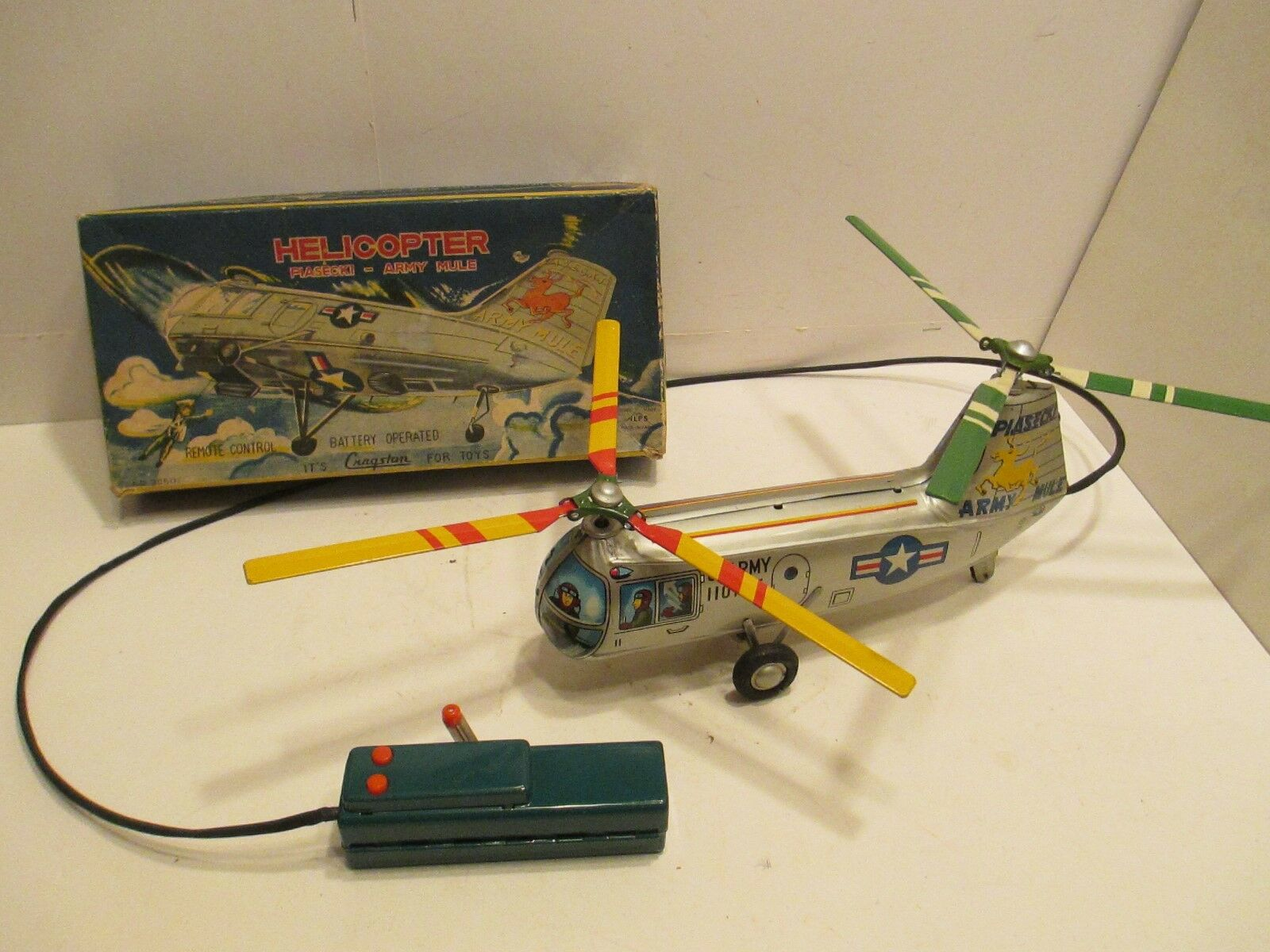 HELICOPTER PIASECKI ARMY MULE NEAR MINT IN BOX BATTERY OP TESTED WORKS GOOD