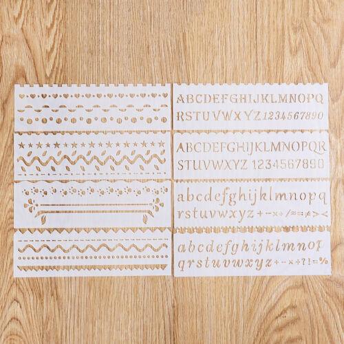 8pcs Journal Stencil Plastic Planner Animal Alphabet DIY Drawing Template Ruler