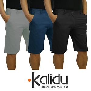 Bermuda-Uomo-Slim-Cotone-Pantalone-Corto-Shorts-Basic-Casual-Slim-Fit-Nero