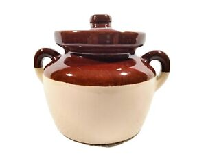 Vintage McCoy USA Pottery #341 Brown/Cream Bean Pot Crock With Handles And Lid