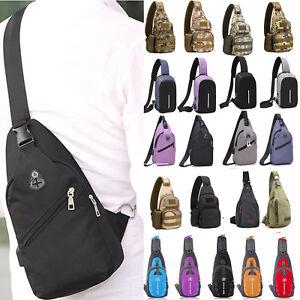 22b020f7b62 Men Women Canvas Sling Bag Chest Crossbody Messenger Shoulder Travel ...