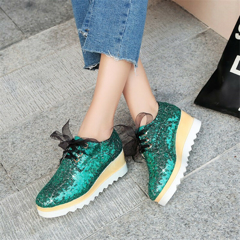 Fashion Women's Sequins Shiny Hidden Wedge High Heels Sneakers Platform shoes