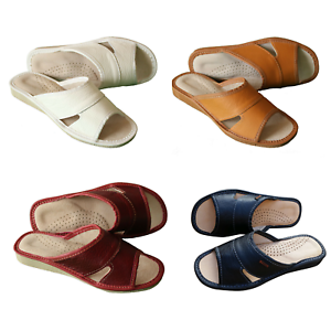 Womens-100-Natural-Leather-Slippers-Mules-Slip-On-Open-Sandals-Slides-Size-3-8