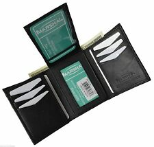 BLACK MENS GENUINE SOFT LEATHER FLAP TOP CREDIT CARDS ID TRIFOLD WALLET 2755