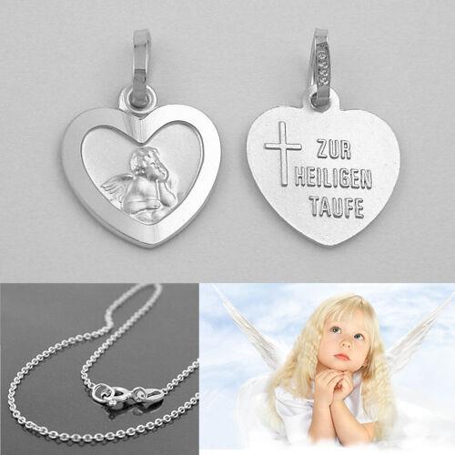 Baby Schutz Engel Herz Zur Heiligen Taufe Echt Silber 925 mit Rundanker Kette