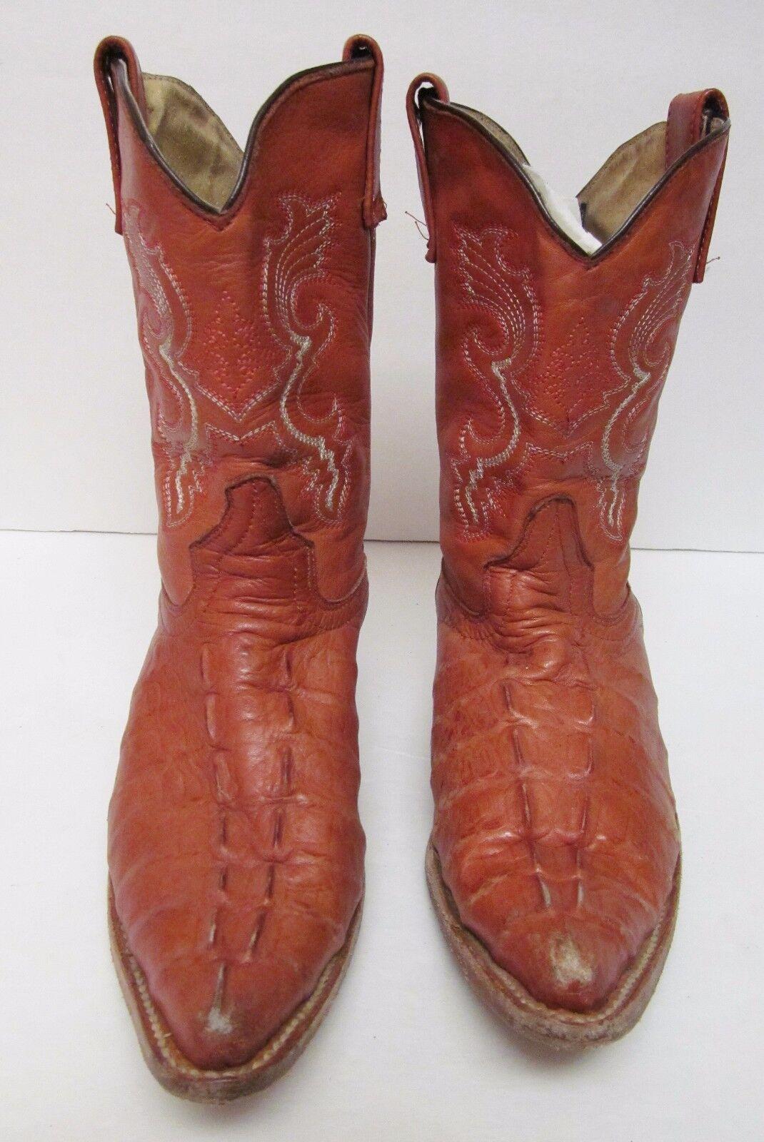 Figueroa Mexico Distress Crocodile Alligator Hornback Cowboy Boots Tan Tan Tan 5 VTG 26f5a8
