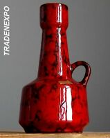 Vintage 1970's ROTH KERAMIK Red&Black Vase Jug West German Pottery Fat Lava Era