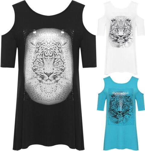 Neuf Femme Découpe Épaule Imprimé Léopard Manches Courtes Femmes T-shirt Tops