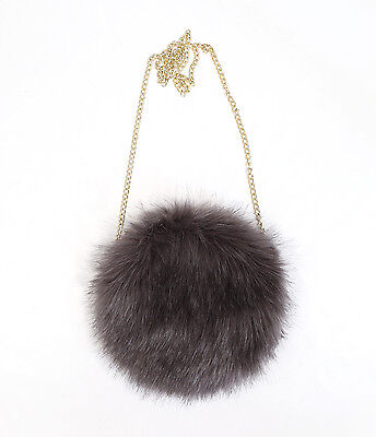 Womens Faux Fur Round Chain Crossbody Hand Bag SBA-1734