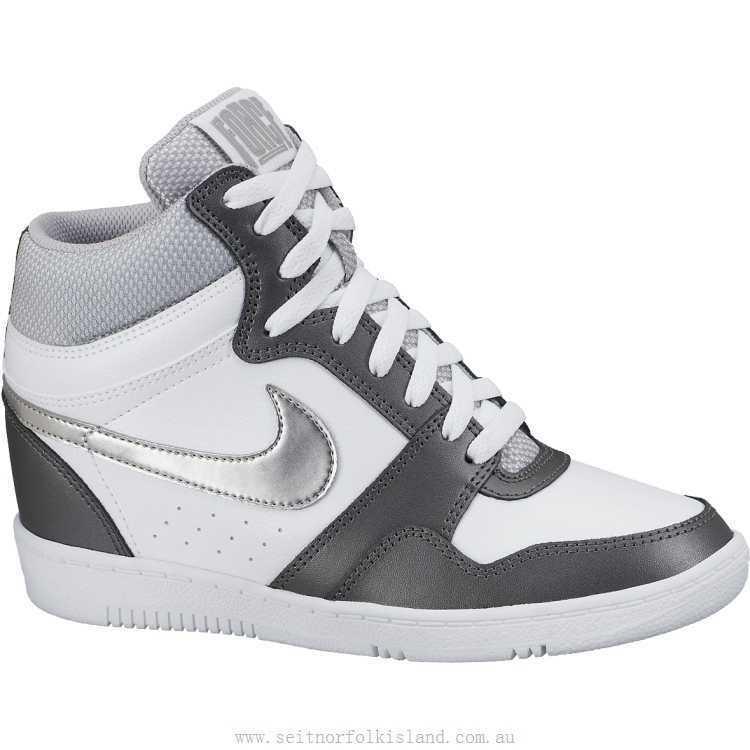 Nike Force Sky High Women's Hidden Wedge Hight White Grey Silver 629746-103 Rare