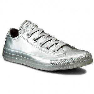 Converse Chuck Taylor All Star Ox Liquid Silver Metallic SNEAKERS Sz 5