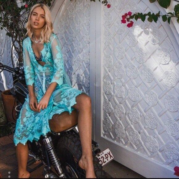 Arnhem Maple Midi Lace Kimono Dress in Turquoise Größe S or M NWT