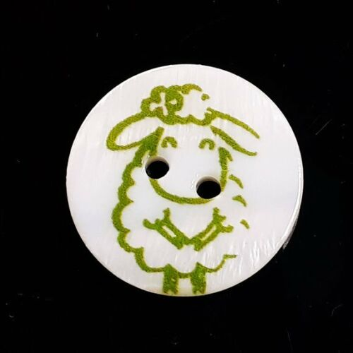2pcs Green Sheep Buttons Shell 2 Hole 20mm Scrapbooking Craft Supplies B65349