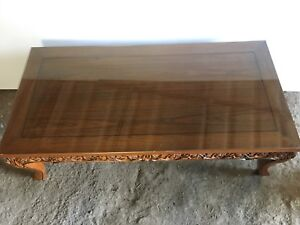 Image Is Loading Thai Teak Carved Coffee Table Gl Top Great