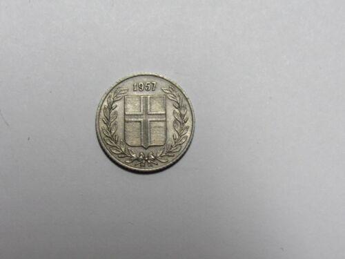 Circulated Old Iceland Coin 1957 25 Aurar