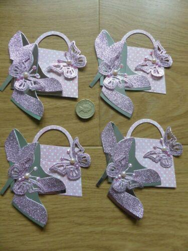 4 grandes Plata Lunares Rosa Zapatos y bolso de mano Damas Hecho a Mano Tarjeta Toppers