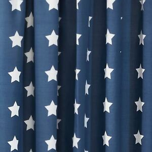 Image Is Loading Stars Navy Blue Amp White Lined Curtains Bedroom