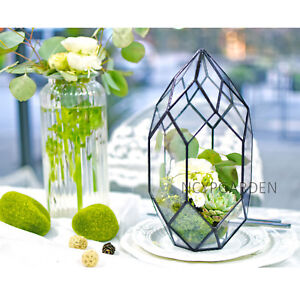 Large Handmade Geometric Glass Terrarium Diy Pot Planter Table Decor