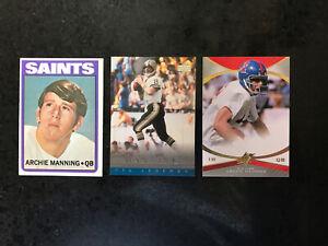 Archie-Manning-3-card-lot-1-72-Topps-RC-1-05-UD-Legends-1-13-SPx-36-Rebels