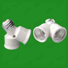 E27 to 2x E27, 2 into 1 Edison Screw Light Bulb Lamp Holder Adaptor Splitter, V2