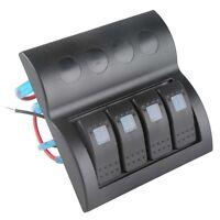 4 Gang Blue Led Marine Boat Waterproof Rocker Switch Panel Circuit Breaker